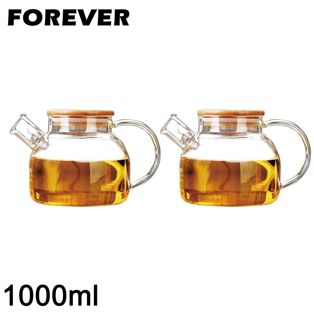 日本FOREVER 日式竹蓋耐熱玻璃把手花茶壺1000ML-2入/組