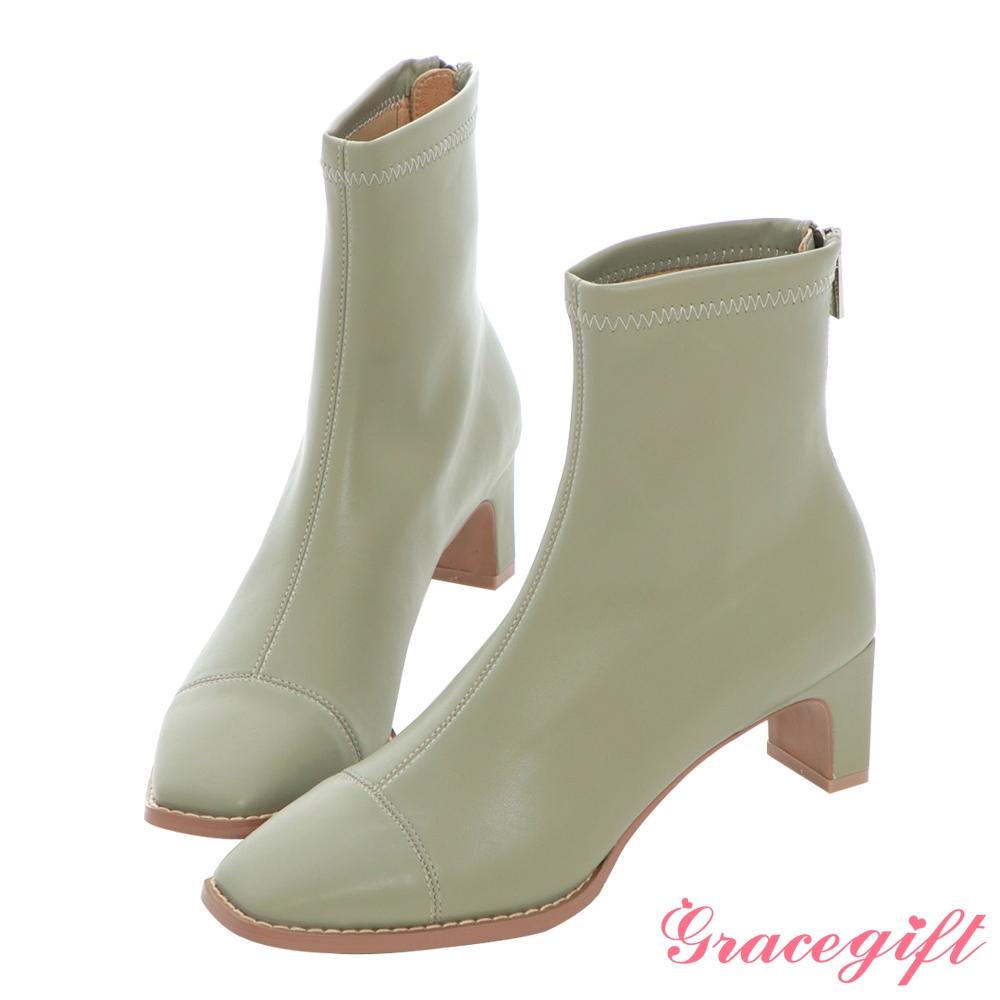 Grace gift X MEG-聯名方頭沿條高跟短靴 綠