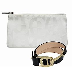 AIGNER-限量-緹花化妝包-白+LOGO皮手鍊-黑
