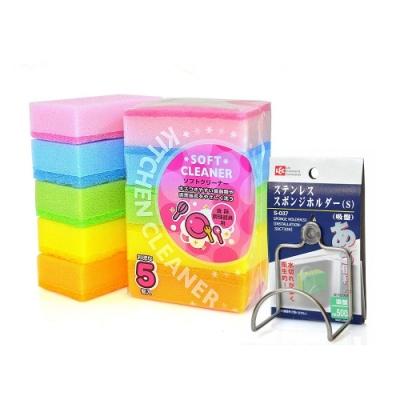 日本AISEN雙層構造5入軟質海棉刷(5包裝 )送吸盤架
