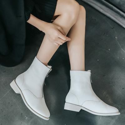 LN 英倫厚底前拉鍊中筒粗跟女靴-3色