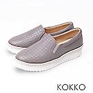 KOKKO -繽紛年華雕花麻繩真皮休閒鞋-紳士灰