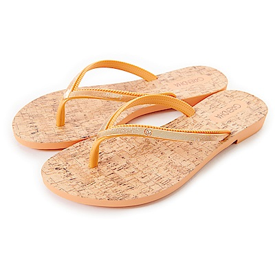 Grendha 金屬感人字帶草編風夾腳鞋-橘色