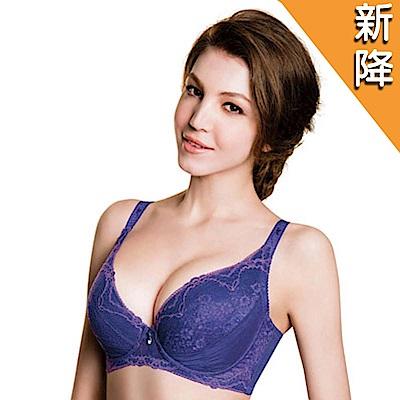 華歌爾-深V感瘦綺肌大罩杯E-E85罩杯內衣(彩繪紫)