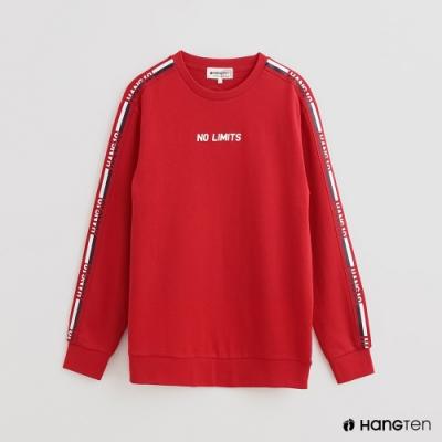 Hang Ten - 男裝 - 撞色拼接字母條紋棉質圓領上衣- 紅