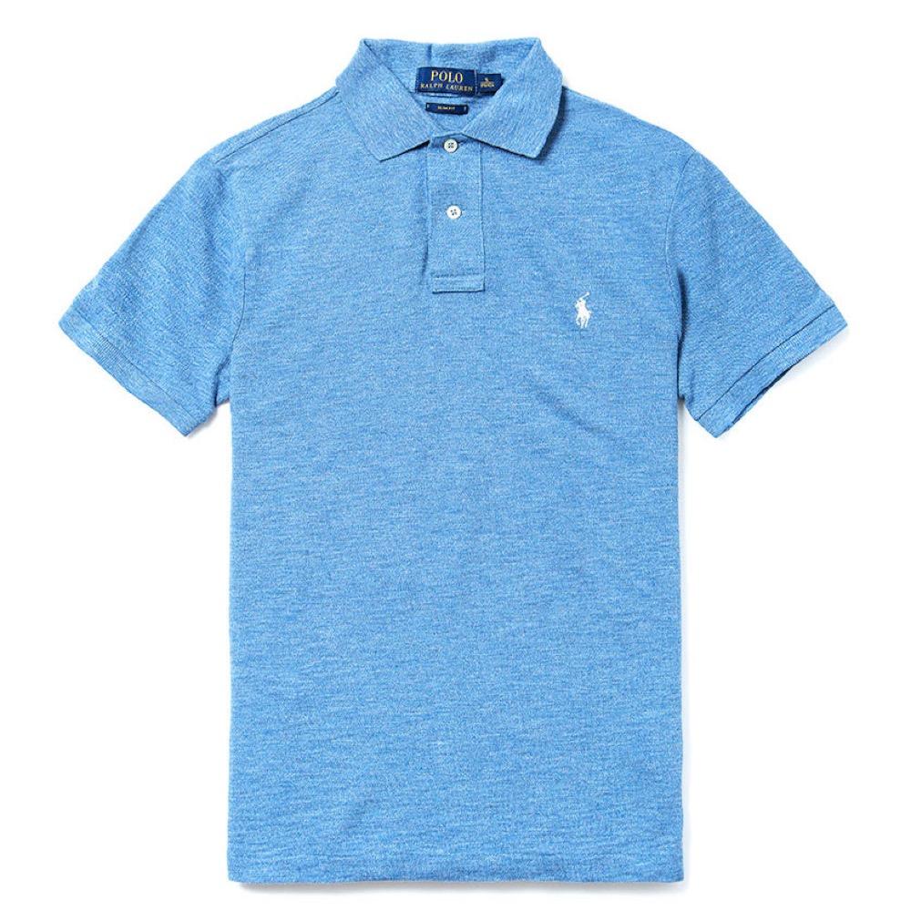 Polo Ralph Lauren 經典電繡小馬Polo衫(Slim)-麻花水藍色