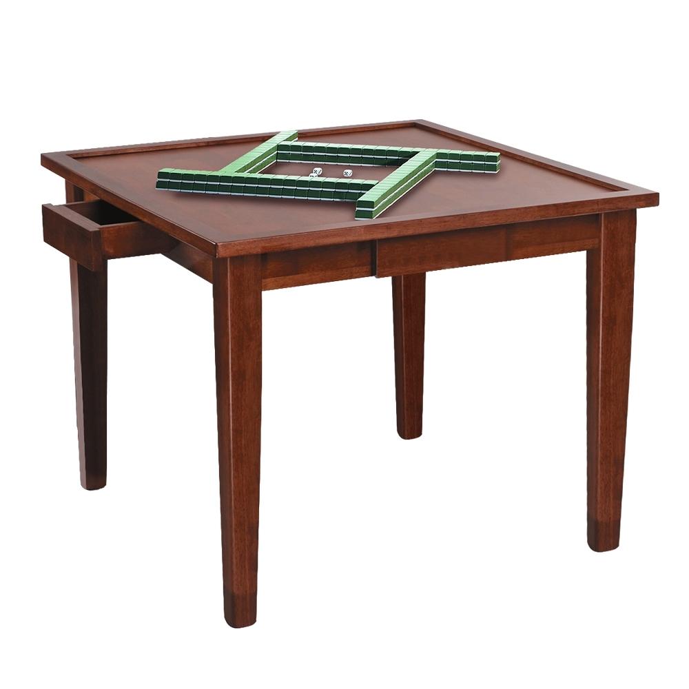 柏蒂家居-傑文2.8尺多功能實木餐桌/麻將桌(可夾紙)-85x85x75cm