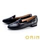 ORIN 金屬鍊條真皮平底 女 樂福鞋 黑色 product thumbnail 1