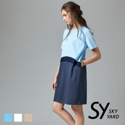 【SKY YARD 天空花園】異色拼接短袖洋裝-水藍