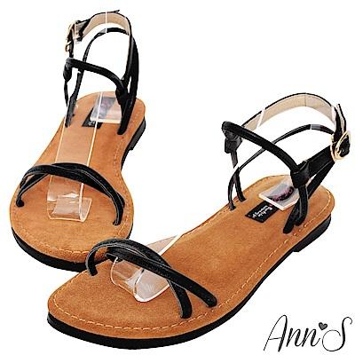 Ann'S水洗牛皮-雙扭結寬版平底涼鞋-黑