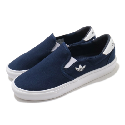 adidas 休閒鞋 Court Rallye Slip 男女鞋 愛迪達 輕便 簡約 情侶穿搭 套腳 藍 白 FY4552
