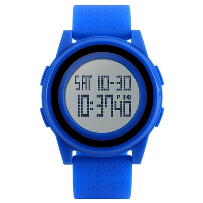 Mirabelle 雙框炫色 LED鬧鐘防水矽膠手錶 藍帶黑框(skmei)