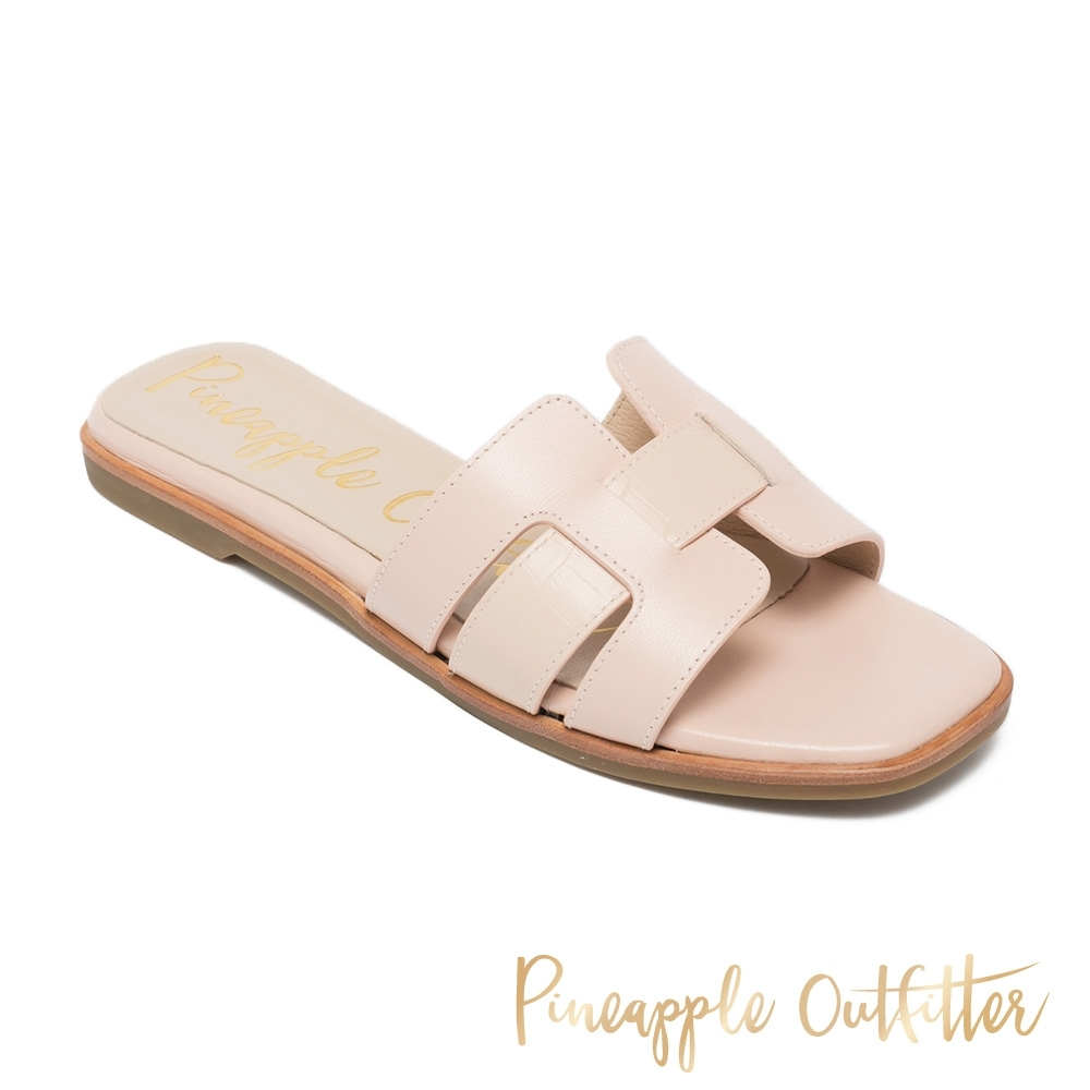 Pineapple Outfitter-RIYA 真皮舒適平底拖鞋-粉藕色