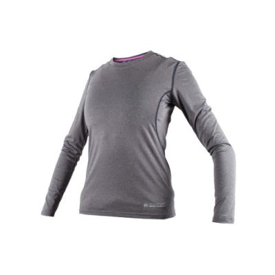 FIRESTAR 女機能緊身長袖-T恤 長T 健身 瑜珈 麻花灰