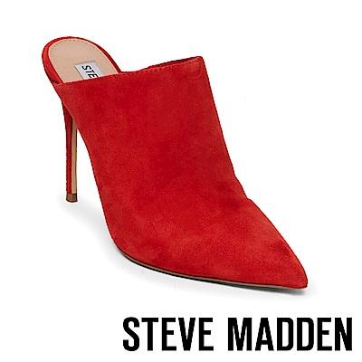 STEVE MADDEN-DARLENE絨面細高跟穆勒鞋-絨紅