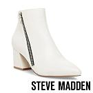 STEVE MADDEN-CHECKMATE 摩登時尚 梯型粗跟側拉鍊短靴-白色