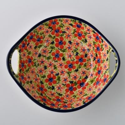 波蘭陶 繁花艷野系列 雙耳圓形深餐盤 22cm 波蘭手工製