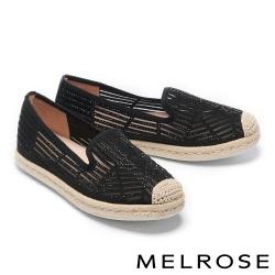 休閒鞋 MELROSE 閃耀質感時尚晶鑽草編厚底休閒鞋-黑
