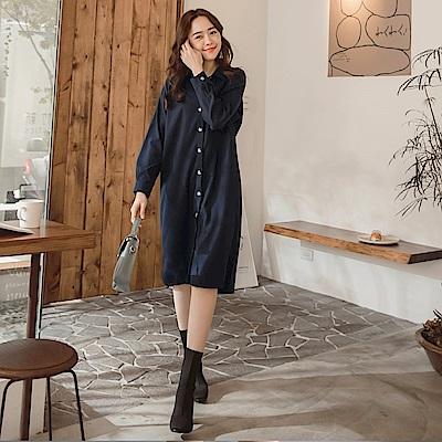 iMODA STAR-臧芮軒。純色襯衫領仿麂皮條紋外罩排釦長版洋裝/外套