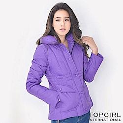 【TOP GIRL】舖羽絲棉立領外套 - 紫色