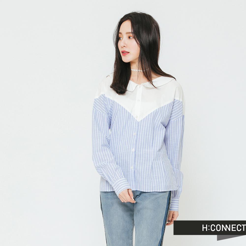 H:CONNECT 韓國品牌 女裝-條紋拼接排扣襯衫-藍