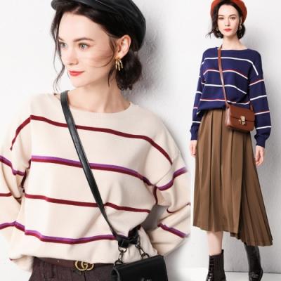 【LANNI 藍尼】簡約條紋素雅寬鬆針織衫-3色(均碼)●