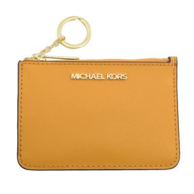 MICHAEL KORS Jet Set 拉鍊鑰匙扣卡夾零錢包(黃)
