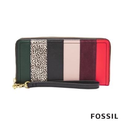 FOSSIL LOGAN 多層真皮RFID拉鍊長夾-狂野紋X多彩線條(含手帶) SL7966191