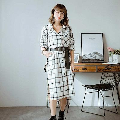 ANIREK 法蘭絨格紋洋裝