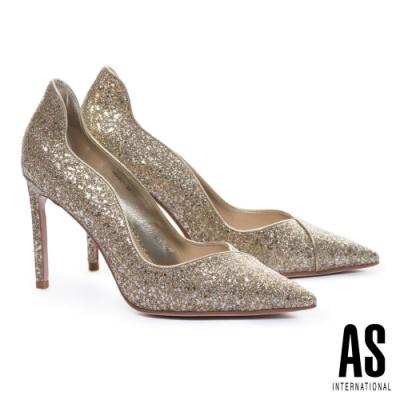 高跟鞋 AS 極致奢華閃耀金蔥尖頭美型高跟鞋-金
