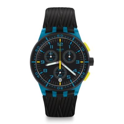 Swatch 原創系列手錶 BLUE TIRE 走出戶外_藍色-42mm