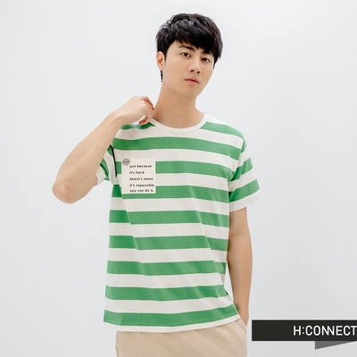 H:CONNECT 韓國品牌 男裝-圓領活力橫條紋個性T-Shirt-綠色