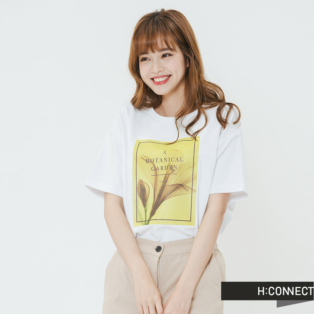 H:CONNECT 韓國品牌 女裝-框印圖像T-shirt-白