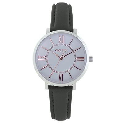 GOTO浪漫小資女精品時尚手錶-白x黑皮/33mm