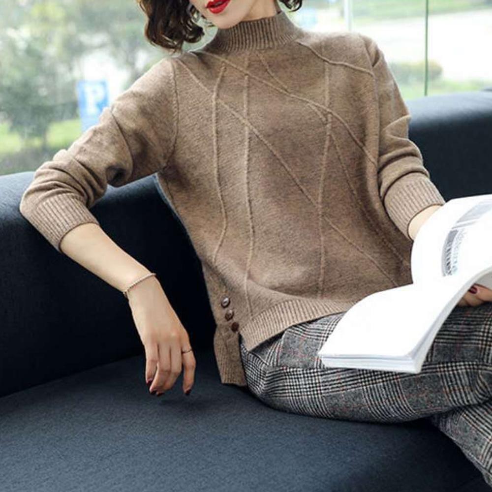 Lockers 木櫃 純色時尚釦子裝飾下擺百搭針織衫/毛衣-3色