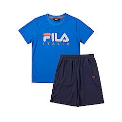 FILA KIDS 童吸濕排汗短袖套裝-寶藍 1WTT-4906-AB