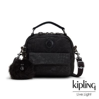 Kipling 時髦黑佐鱷魚紋拉鍊兩用側背後背包-PUCK