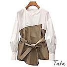 不規則拼接交疊綁帶上衣 TATA-(S~L)