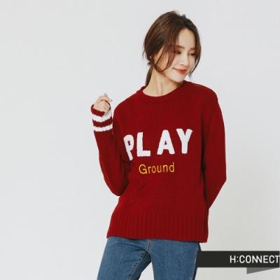 H:CONNECT 韓國品牌 女裝 - play文字針織上衣-紅(快)