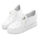 PLAYBOY 微尖美鑽真皮內增高休閒鞋-白-Y529611