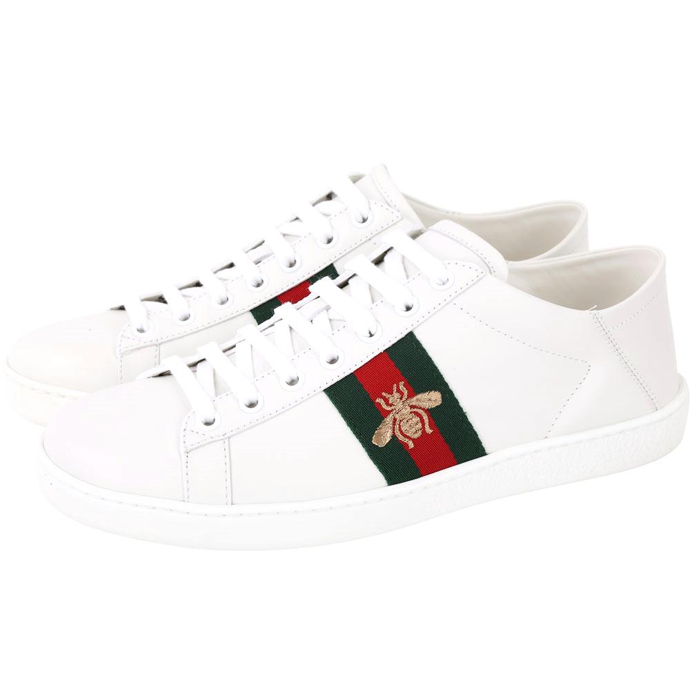 GUCCI Ace 蜜蜂刺繡皮革綁帶運動休閒鞋(白色)