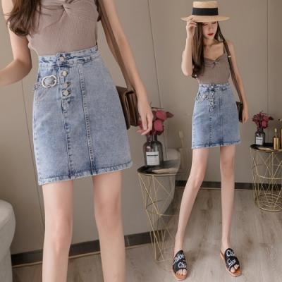 高腰排釦小腰帶點綴牛仔短裙S-XL-WHATDAY