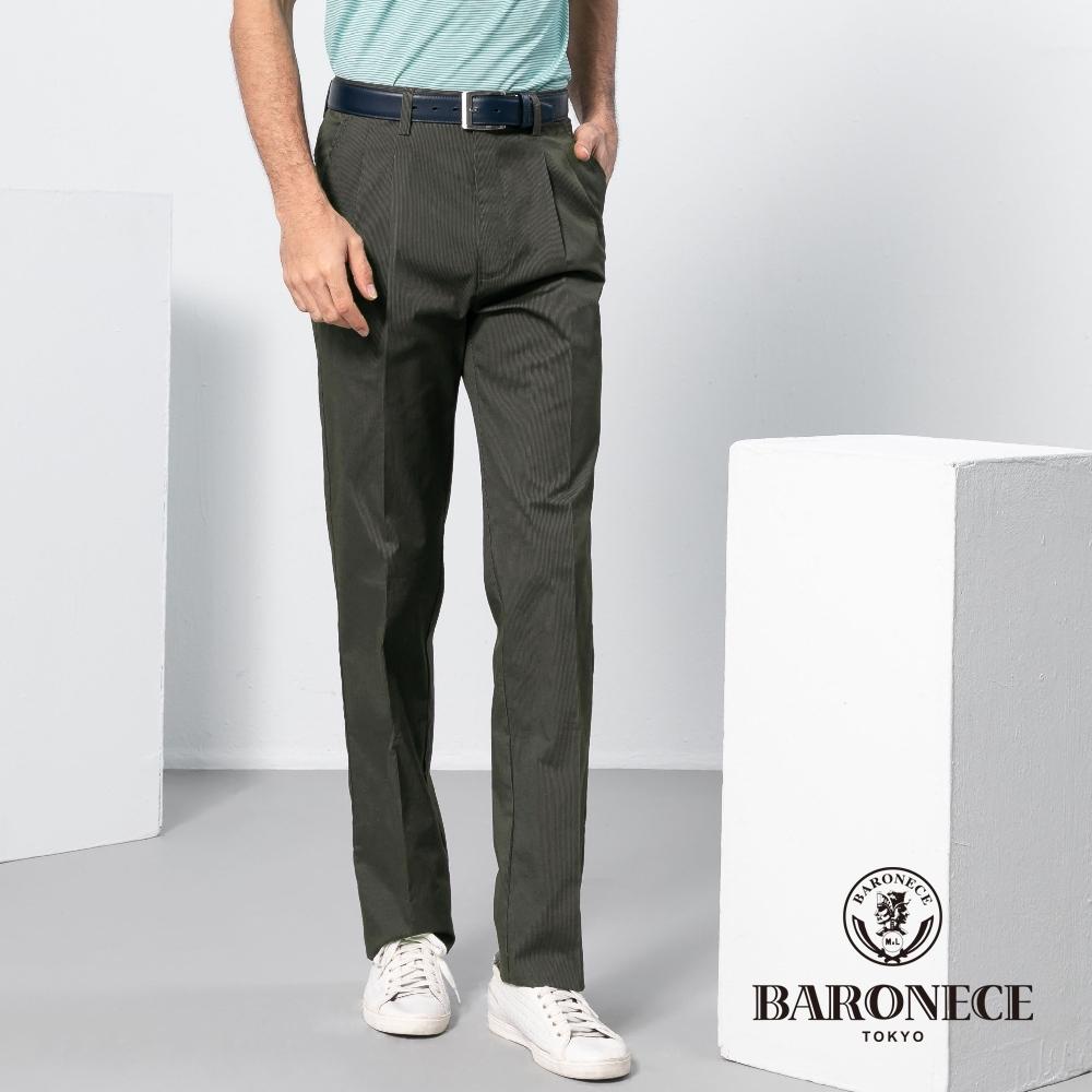 BARONECE 百諾禮士休閒商務  男裝 直條雙褶休閒棉褲-墨綠色(1198897-49)