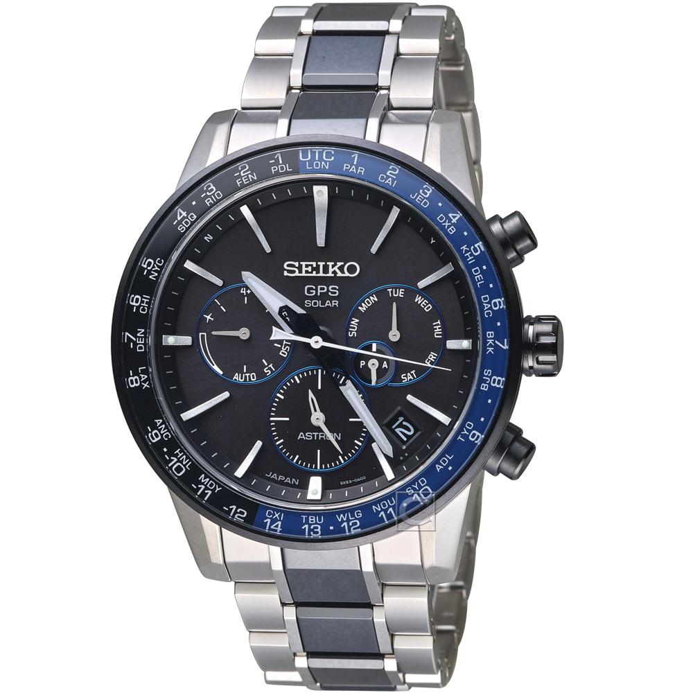 SEIKO精工ASTRON GPS 5X53雙時區鈦金屬腕錶(SSH009J1)-黑藍色 @ Y!購物