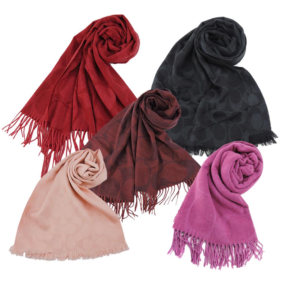 COACH 大LOGO大尺寸流蘇/羊毛混絲針織披肩/圍巾(8色)COACH