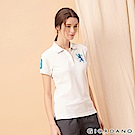 GIORDANO 女裝勝利獅王漸層刺繡彈力萊卡POLO衫-02 標誌白