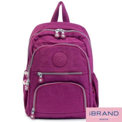 iBrand後背包 繽紛樂園尼龍多口袋後背包-優雅紫