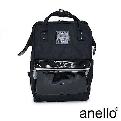 anello 精緻雙材質拼接口金後背包 黑色 M