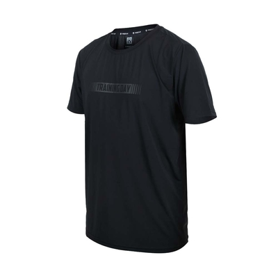 FIRESTAR 男彈性印花圓領短袖T恤-慢跑 路跑 涼感 上衣 反光 D1737-10 黑灰