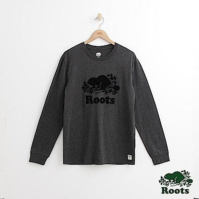 Roots 男裝-庫柏海狸長袖T恤-灰色
